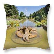 Renaissance Dolphin Sculptures Water Fountain Throw Pillow