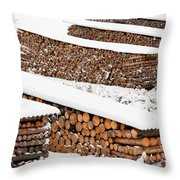 Renewable Heat Source Firewood Stacked In Winter Throw Pillow