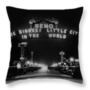 Reno Nevada The Biggest Little City In The World. The Arch Spans Virginia Street Circa 1936 Throw Pillow