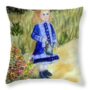 Renoir Girl With Watering Can In Watercolor Throw Pillow