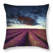 Renoir Style Digital Painting Vibrant Summer Sunset Over Lavender Field Landscape Throw Pillow
