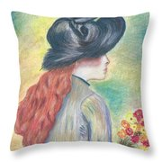 Renoirs' Painting Of Girl Holding A Bouquet In Pastels Throw Pillow