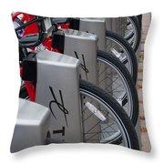Rental Bikes Throw Pillow