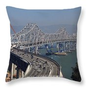 Replacement Of The Easter Span San Francisco Oakland Bay Bridge From Yerba Buena Island Oct 9th 2011 Throw Pillow