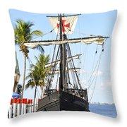 Replica Of The Christopher Columbus Ship Pinta Throw Pillow