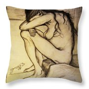 Replica Of Vincent's Drawing - Sorrow Throw Pillow