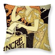 Reproduction Of A Poster Advertising 'marquet Ink' Throw Pillow by Eugene Grasset
