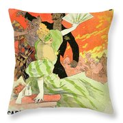 Reproduction Of A Poster Advertising The 1896 Carnival At The Theatre De L'opera Throw Pillow