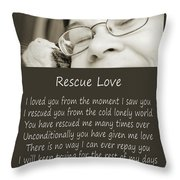Rescue Love Adoption Throw Pillow by Andee Design