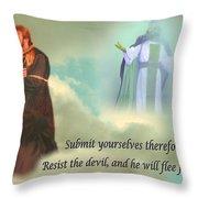 Resist The Devil Throw Pillow