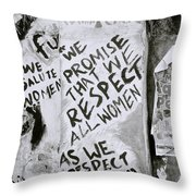Respect Women Graffiti Throw Pillow