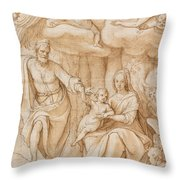Rest On The Flight Into Egypt Throw Pillow by Federico Zuccaro