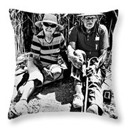 Rest Stop At Coorong Bw Throw Pillow