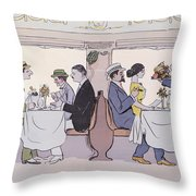 Restaurant Car In The Paris To Nice Train Throw Pillow