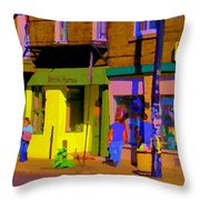 Restaurant El Pintxo Rue Roy Plateau Montreal Basque Food Spanish Cafe City Scene Art Carole Spandau Throw Pillow