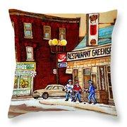 Restaurant Greenspot And Coin Vert Boutique Fleuriste Montreal Winter Street Hockey Scenes Throw Pillow