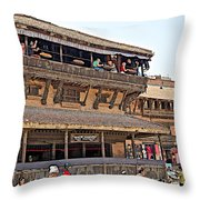 Restaurant In Bhaktapur Durbar Square In Bhaktapur-nepal Throw Pillow