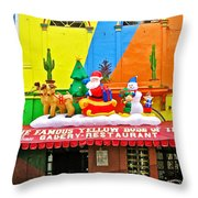 Restaurant In Gateway To The Amazon River In Iquitos-peru Throw Pillow
