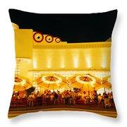 Restaurant Lit Up At Night, Miami Throw Pillow