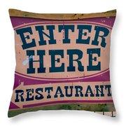 Restaurant Sign Color Throw Pillow