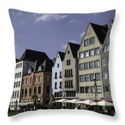 Restaurants And Brewpubs Along The Rhine Cologne Throw Pillow