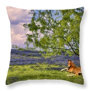 Resting Among The Bluebonnets Throw Pillow