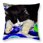Resting At Work Throw Pillow