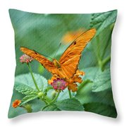 Resting Orange Butterfly Throw Pillow