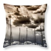 Resting Sailboats Throw Pillow by Stelios Kleanthous