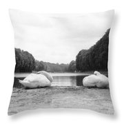 Resting Swans Throw Pillow