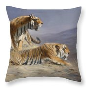 Resting Tigers Throw Pillow