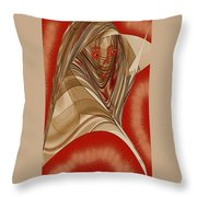 Resting Woman - Portrait In Red Throw Pillow