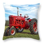 Restored Farmall Tractor Throw Pillow