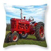 Restored Farmall Tractor Hdr Throw Pillow