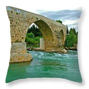 Restored Roman Bridge Over Eurynedan River-turkey Throw Pillow