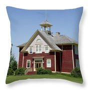 Restored Small Town School Throw Pillow
