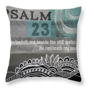 Restoreth My Soul- Contemporary Christian Art Throw Pillow by Linda Woods