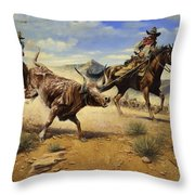 Restraint 2 Cowboys Roping A Steer Throw Pillow