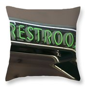 Restrooms In Neon Throw Pillow