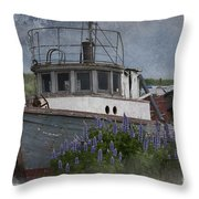 Retired Boat Throw Pillow