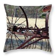 Retired Hay Rake Throw Pillow