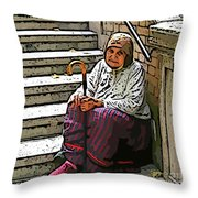 Retired In Greece Throw Pillow