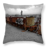 Retired Mining Ore Cars Throw Pillow