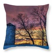 Retired Silo Watching Sunset Throw Pillow