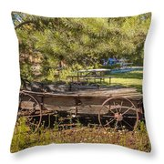 Retired Wagon At Thousand Trails Throw Pillow