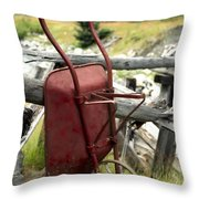 Retired Wheelbarrow Throw Pillow