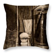 Retro Barber Tools In Black And White Throw Pillow