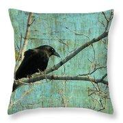 Retro Blue - Crow Throw Pillow