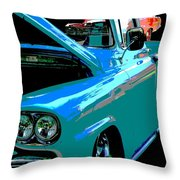 Retro Blue Truck Throw Pillow