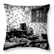 Retro Diner Bw Throw Pillow